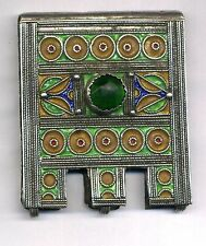 Morocco old Silver, Enamel and Glass cabochon Amulet Hirz Pendant