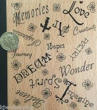 MEMORIES, LOVE, DREAMS, HOPES Large Wooden Rubber Stamp Creative Expressions