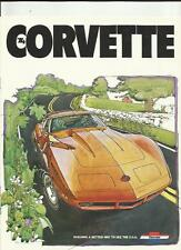 CHEVROLET CORVETTE USA SALES BROCHURE/POSTER 1980