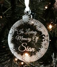 """personalised ,,in loving memory of"""" clear acrylic bauble 7cm NEW xmas"""