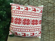 Gisela Graham Christmas red and white Scandinavian knitted cushion 40cm