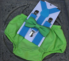 1st Birthday boy cake smash diaper cover bow tie Suspenders Green Blue Outfit
