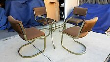 Gold Brass Finish Cantilever Milo Baughman Dining Table & Chairs CAL-STYLE 1980s