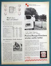 Original 1959 Purina Feeds Photo Ad Endorsed by V H Buck Ramsey of Georgetown SC