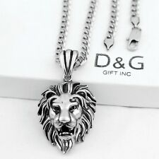 "24"" DG Men's.Necklace Cuban Chain~Lion Head Pendant,Stainless-Steel Silver + Box"