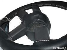 Para Bmw Serie 5 E39 95-04 Real De Cuero Negro cubierta del volante Punto Blanco