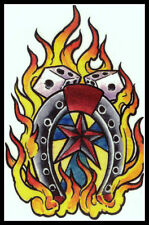 WESTERN COWBOY STAR LUCKY HORSESHOE FLAMING FIRE DICE~TEMPORARY TATTOO~WILD WEST