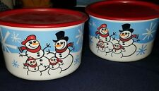 2 NEW Small Tupperware Wonderland Snowmen Christmas Cookie Round Snack Canister