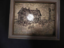 Vintage,  Metallic Gold Foil picture with frame,  farmhouse windmill nice  11/ 9