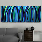 Modern Abstract Painting Blue/Silver Metal Wall Art Decor - Psychedelic Rush