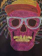Rainbow Line Art Graphic Skull With Glasses and Hat T Shirt Tee Gently Used 3XL