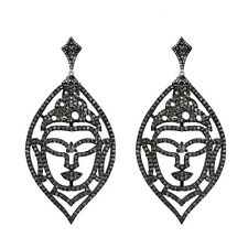2.84 Ct Diamond Pave Designer Buddha Dangle Earrings 925 Sterling Silver Jewelry