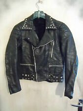 VINTAGE 70'S STUDDED PERFECTO CROPPED LEATHER MOTORCYCLE JACKET SIZE 12/14