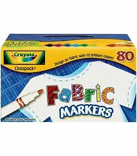 Crayola Fabric Marker Classpack, 10 Colors, 80 Set 58-8215 New