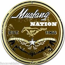 """Ford Mustang Nation United We 'Stang 12"""" Embossed Metal Circle Sign - CS60089"""