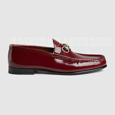 $640 GUCCI MENS LOAFERS BRUSHED LEATHER HORSEBIT SHOES RED sz 14 / 15D / 48.5