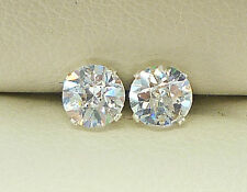DIAMOND SILVER STUD EARRINGS 5mm  ROUND CREATED DIAMOND BRIOLETTE CUT sk942