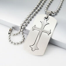 """Silver Stainless Steel Army Dog Tags Cross Pendant 24"""" 61cm Chain Mens Necklace"""