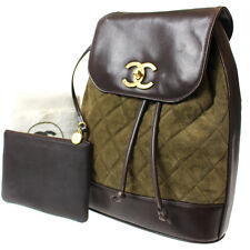 CHANEL Matelasse Quilted One Shoulder Bag Green Suede Brown Vintage Auth #8641 M