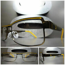Men's or Women CONTEMPORARY MODERN Clear Lens EYE GLASSES Bronze & Yellow Frame