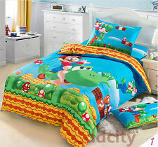 Twin Size Super Mario Brothers Duvet Cover Bedding Set Quilt Textile Cover 3pcs