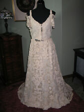 Romantic Antique Irish Crochet Lace Wedding Dress Gown Mid ~ Late 1800s-2 PC WOW