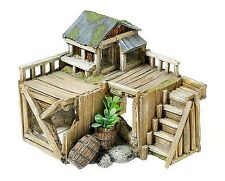Wooden Corner House Hut Cabin & Plants Aquarium Ornament Fish Tank Decoration