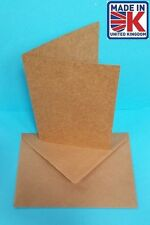 30 x A6 Plain Recycled Kraft Cards and Ribbed Envelopes Natural Brown 250gsm