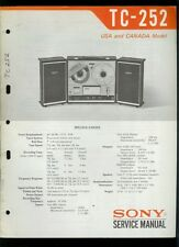 Original Factory Sony TC-252 Reel to Reel Tape Deck Service Guide Manual
