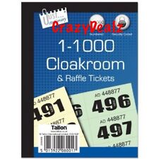NEW 4 x Cloakroom Tickets Raffle Tombola Bingo Draw Numbered Book 1 - 1000
