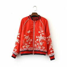 Fashion Satin Butterfly Floral Embroidery Jacket Baseball Bomber Outerwear Tops