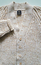 KERNOW KNITWEAR WOMENS HAND FRAMED IN CORNWALL PURE NEW WOOL MEDIUM WOOD BUTTONS