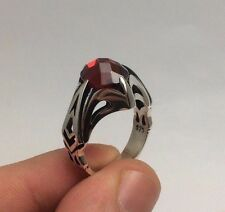 Turkish Ottoman Jewelry Red Zircon Stone Nice 925K Sterling Silver Men's Ring