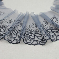 1 Yard Grey Tulle Black Floral Embroidered Lace Trim For DIY Craft Wide 6""