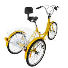 "Adult 3-Wheel Tricycle Bicycle 6-Speed 24"" Cruise Bike Trike W/ Basket Backrest"