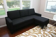 Black Fabric Sectional Sofa w/ REVERSIBLE Chaise Lounge Living Room Modern Couch