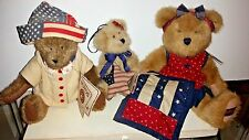 Lot of 3 Red, White and Blue Boyds Bears