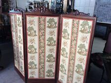 Antique Carved Walnut  Tri Fold Changing Screen Room Divider Old Scalamandre