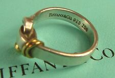 Authentic Tiffany & CO Sterling 18k 750 Gold 925 Silver Hook Knot Ring sz 5.5