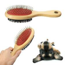 Pet Animal Cat Dog Puppy Wooden Grooming Brush Bristle Pins Double Sided Comb