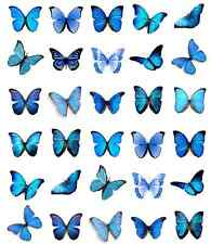 Blue Butterflies Cupcake Toppers Edible Wafer Paper BUY 2 GET 3RD FREE