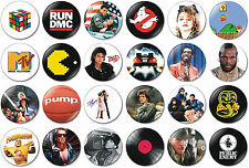 24 x 80s Pack 32mm BUTTON PIN BADGES 1980s Pac Man Movies Star Wars Mr T Mario