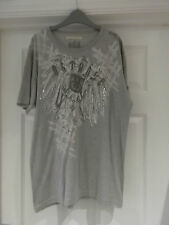 Outrage London T-Shirt in Men's Large - Grey Pictorial Print Short Sleeve Style