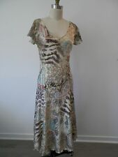 KOMAROV  Crinkled V Neck Flutter Sleeve Dress Paisley Turquoise Coral L 10 12
