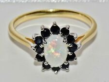 9ct Yellow Gold & Silver Natural Opal & Sapphire Ladies Cluster Ring - size Q