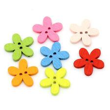 50pcs 15mm Colorful Flower Flatback DIY Wooden Buttons Color 50pcs