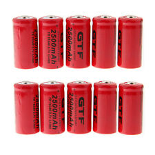 10pcs CR123A 2500mAh 16340 3.7V Rechargeable Li-Ion Battery for Flashlight Torch