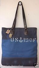 Fossil Men's Vintage Archive Canvas Utility Bag Navy Blue MBG9137400 NWT