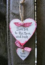 I love you to the Moon and back -Personalised Handmade Hearts- gift