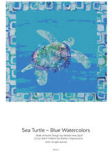Cross Stitch Hawaiian Honu SEA TURTLE Blue Watercolors & Batiks~ Printed Pattern